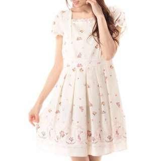 Prime pattern小碎花蝴蝶結蕾絲洋裝