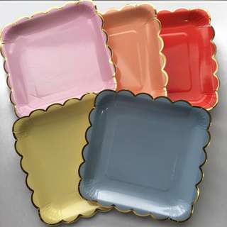 Scallop Edge square plates by 10's (red, baby blue, light yellow)