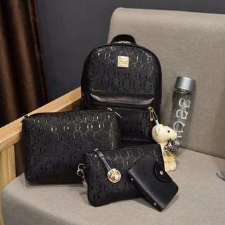 Brand new set 5 pc of PU leather backpack, shoulder bag, wallet, card holder and cute teddy bear(black color)