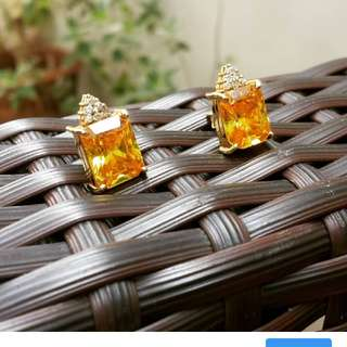 Citrine Studs in 14k Yellow Gold with Diamonds
