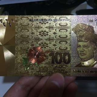Rm100 Gold Plated Bank Note