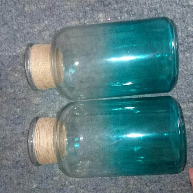 2x Blue Vases