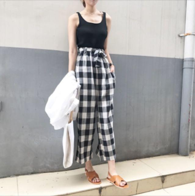 日系格子寬褲