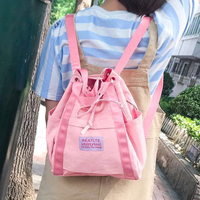 💎軟萌少女系💎純色帆布後背包💓