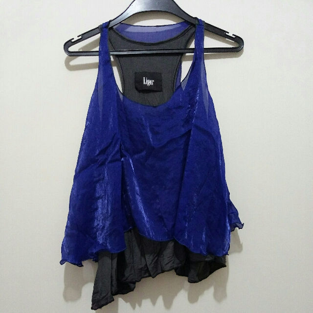 輕柔絲光藍假兩件上衣