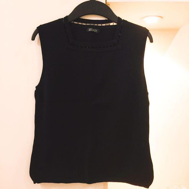 《貴婦の衣櫃》[A&D LADY專櫃] 黑色 針織 棉 削肩 背心 修身 顯瘦 #運費我來出