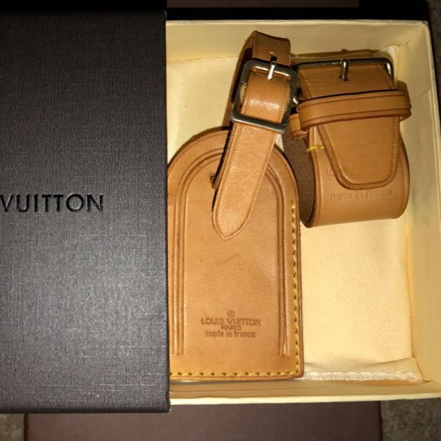 Authentic Genuine Leather LV Luggage Tag And Poignet