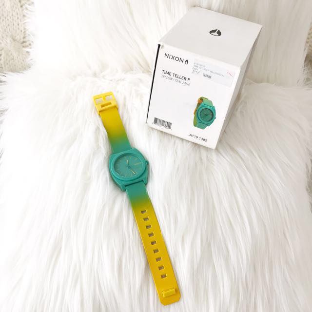 Authentic Nixon Watch - Yellow / Teal Fade