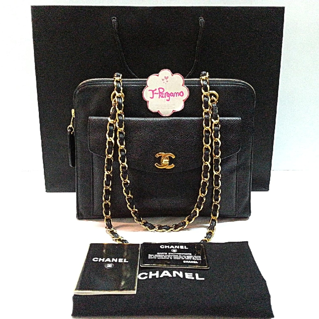 Authentic Vintage Chanel Timeless Classic Caviar Jumbo Tote Bag With 24K Plated Golden Hardware  {{Only For Sale}} *** No Trade ***