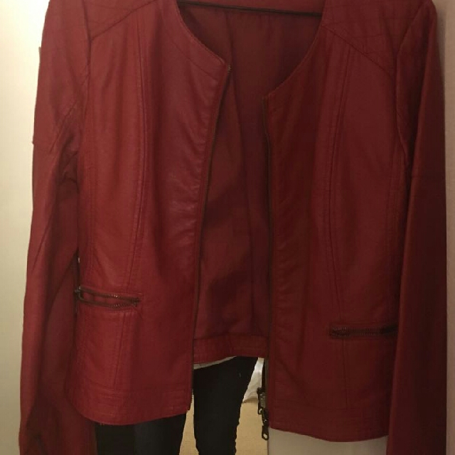 Beautiful Red Faux Leather Jacket With Quilting Detail And Oxidized Gold hardware