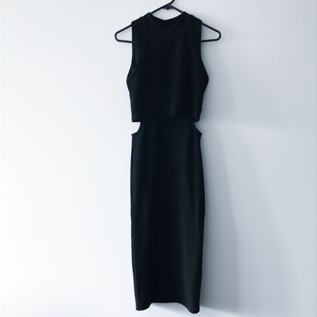 Black midi dress, side cut outs, size 8