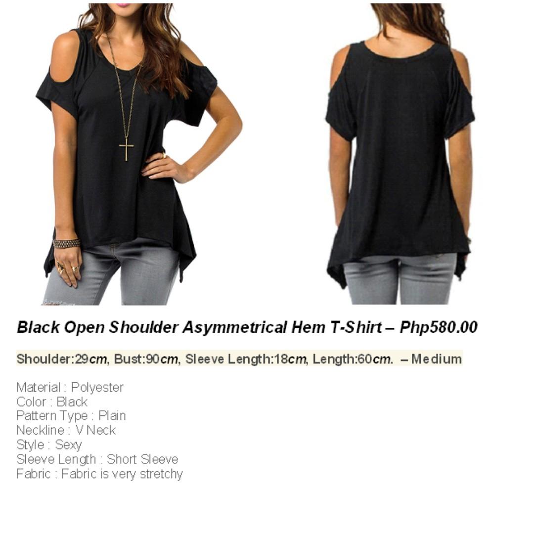 Black Open Shoulder - T-shirt