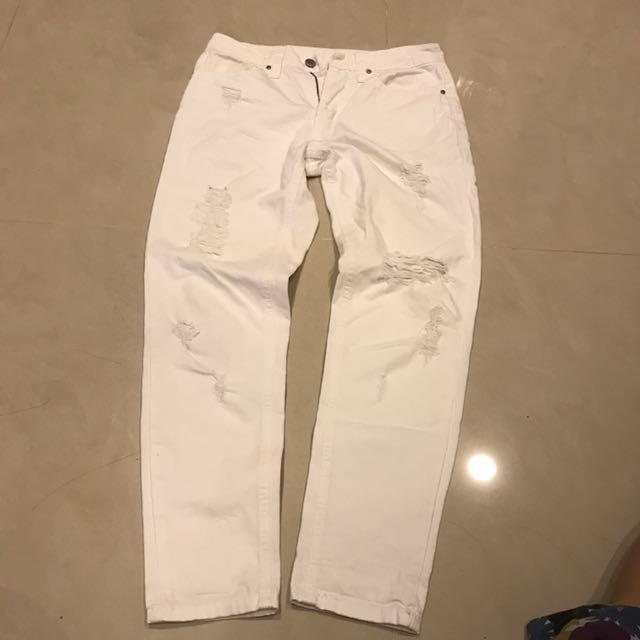 韓國微笑牌boyfriend 白色 長褲有蝦皮免運