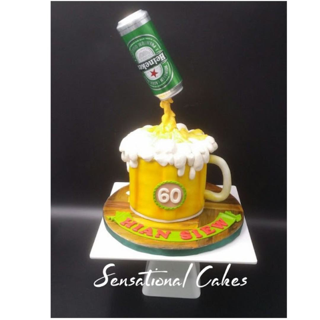 Incredible Customized Birthday Singapore Cake Heineken Draft Beer Pouring Funny Birthday Cards Online Overcheapnameinfo