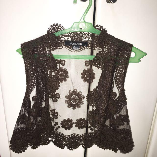 Forever 21 Bohemian Lace Bolero Vest