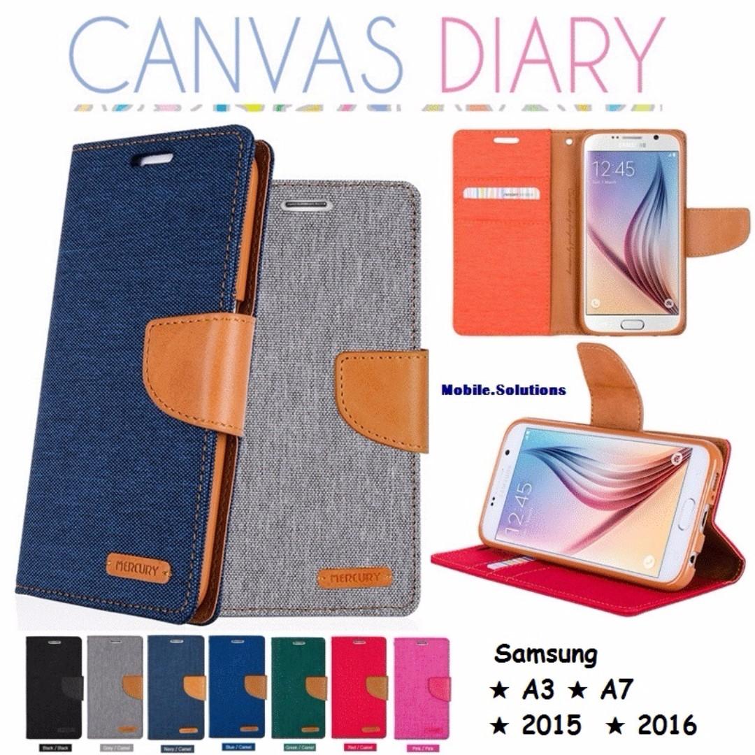 Goospery Canvas Diary Case Samsung A3 A7 2015 2016 Galaxy S8 Plus Gray Photo