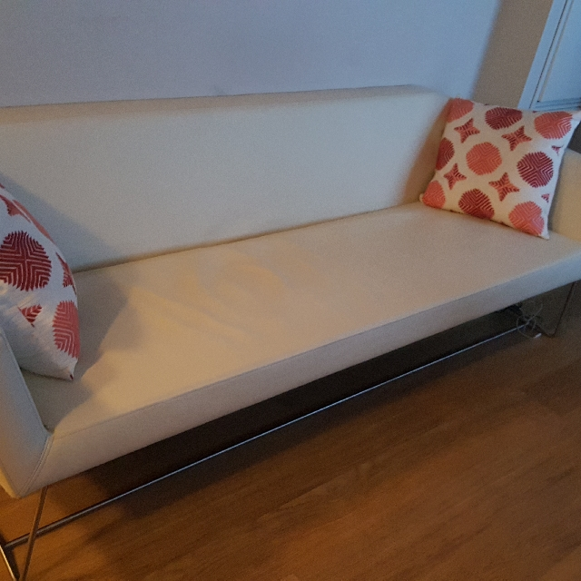 Gorgeous, real leather, white couch / sofa