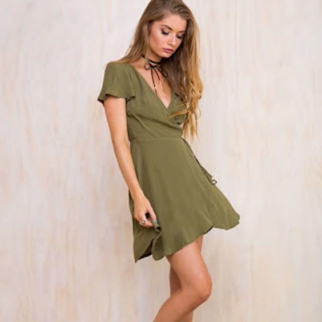 Green wrap dress Princess Polly 10