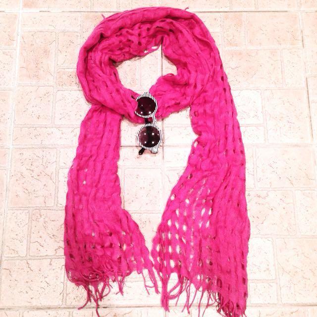 H&M 桃粉色網格圍巾