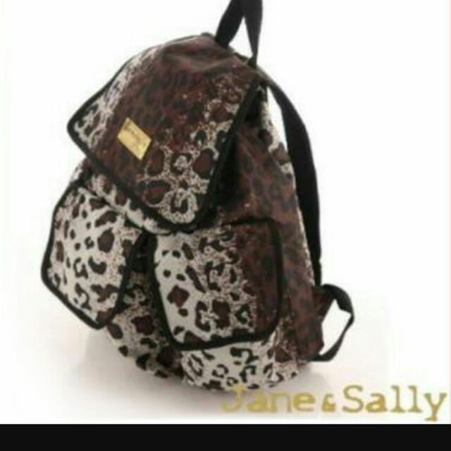Jane&sally 豹紋後背包