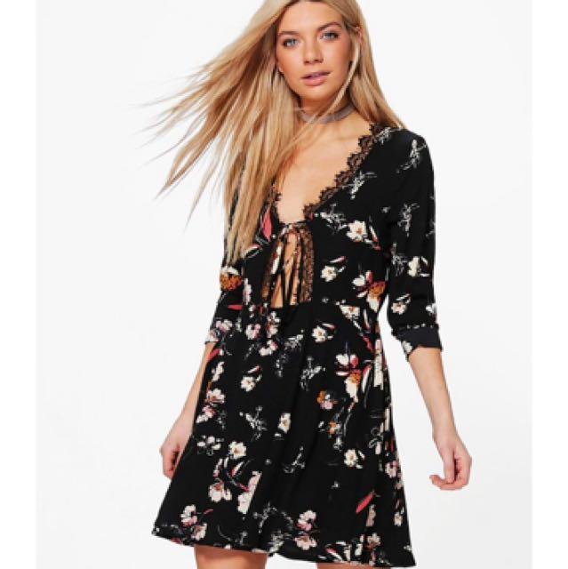 Lace Tie Up Front Dress