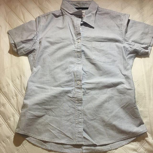 lativ短袖條紋襯衫