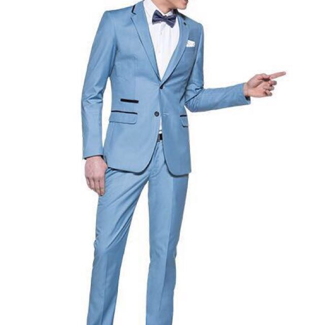 Men\'s Tailor / Blue Suit / Light Blue / Bow Tie / Vest / Trouser ...