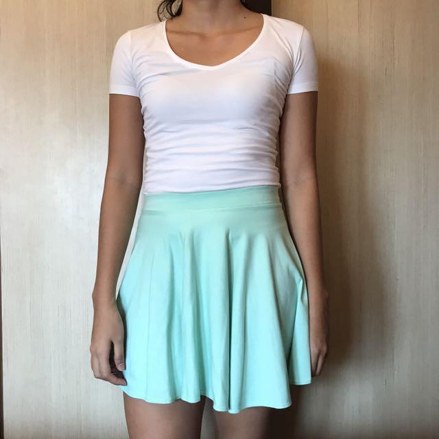 Mint Green Skater Skirt