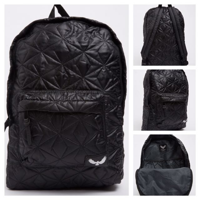 """[NEW - BNWT] - """"Brave Soul"""" Black Quilted Backpack"""