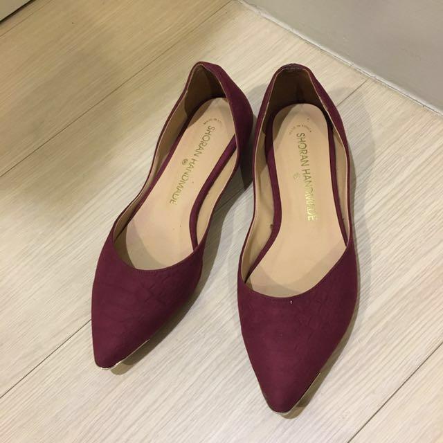 📌麂皮紅滾金邊女鞋OL平底尖頭鞋