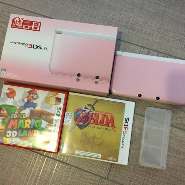 Pink & white 3DS XL Limited Edition with Zelda,Mario 3D Land and  a card holder
