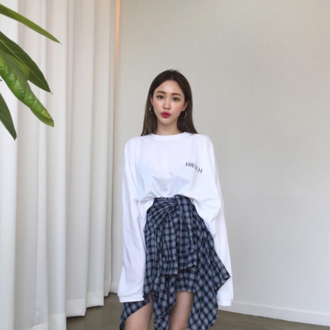 d36cc5840b PO] Korean Oversized Long Sleeve Shirt / Sweater + Checkered Skirt ...