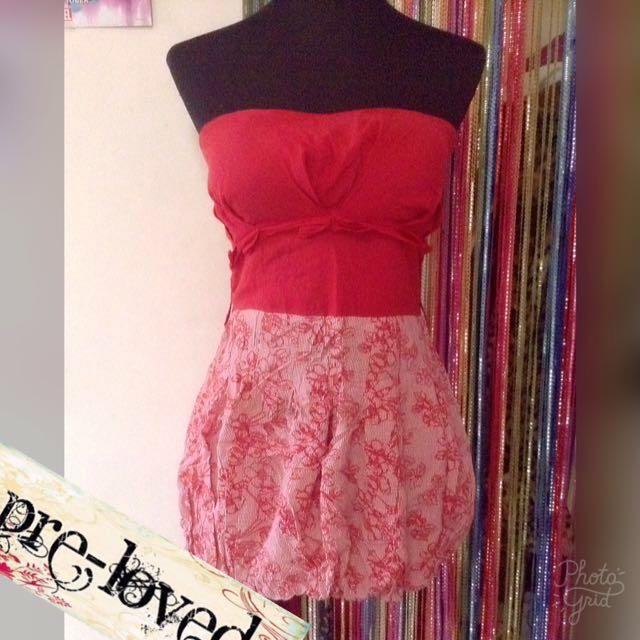 Red tube dress w/ bloom skirt