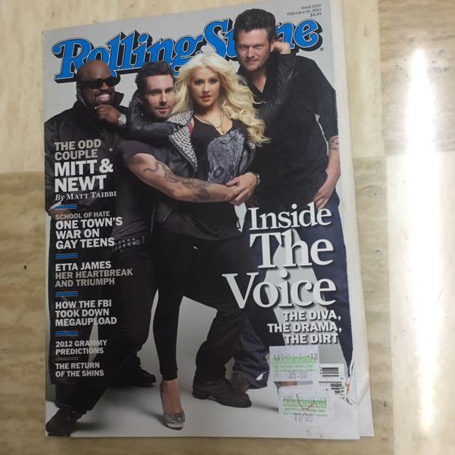 Rolling Stone Adam Levine Christina Aguilera Blake Shelton