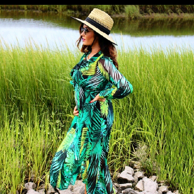#sugarbird #autumn #palm leaf printed #longsleeve #vneck #beach #maxidress #elegant women #boho #dress. Worn few minutes for fotoshoot. #size8 - #size10