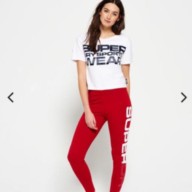 Super Dry 紅色運動內搭褲