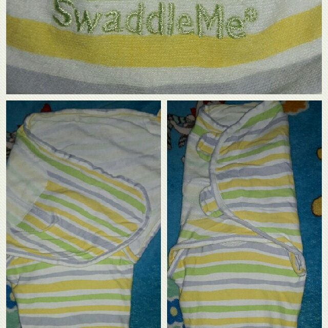 Swaddle Me (White,yellow&green Stripes)