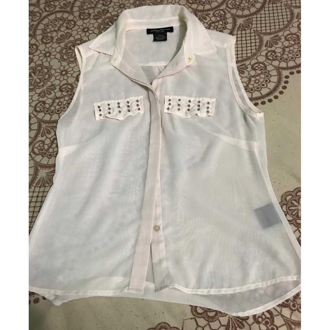 Unbranded - Cream Sheer Chiffon Sleeveless Button-up Collared Top