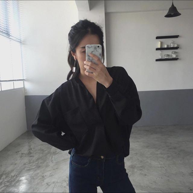 📌大V領女襯衫寬鬆長袖