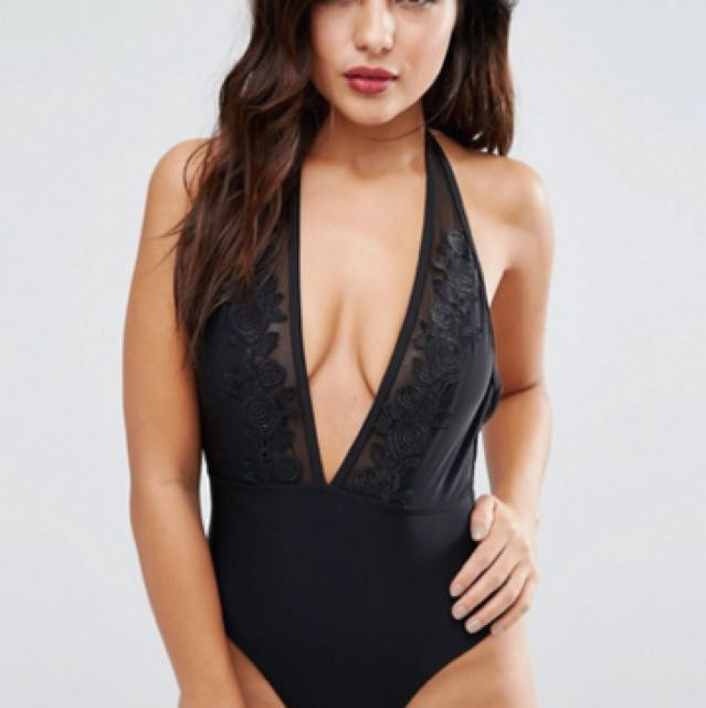 Wolf & Whistle Deep Plunge Lace Panel Swimsuit B/C