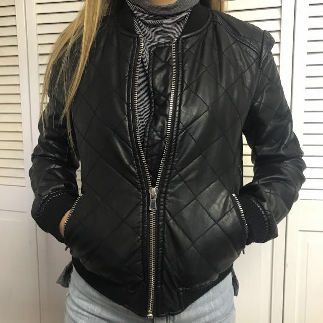 XS Faux Leather Bomber Jacket Zara