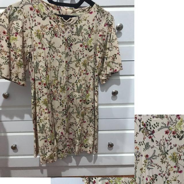 zara floral short jumpsuit