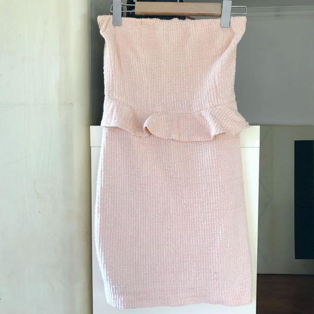 26511747d12 Zara Tweed Peplum Dress Pink