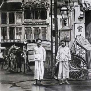 Huge Chinatown charcoal painting by May Oon