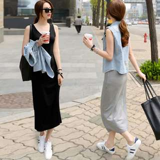 *Brand New* Trendy Maternity Pregnant Black / Dark Grey / Light Grey Sleeveless Dress