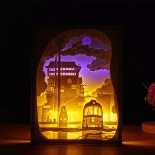 Studio Ghibli Spirited Away Handmade Paper Craft 3D Night Light Shadow Box Music Box Artwork Frame Decoration DIY
