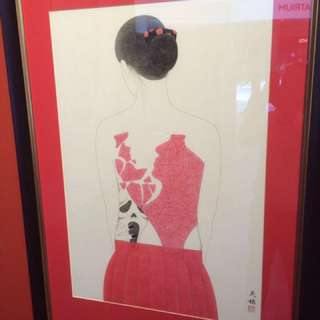 Japanese tattooed ladies traditional ink painting in rice paper