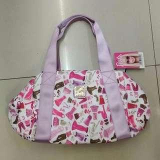 Barbie Pink Printed Nylon Handbag