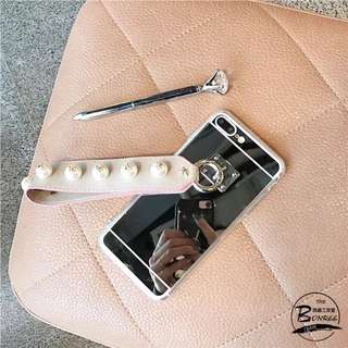 「全新現貨」iPhone6/6s韓國吊墜珍珠潮牌皮帶硅膠防摔殼軟殼