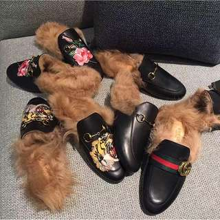 Gucci Prince Mules With Fur